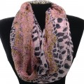 IS003 Wholesale Pink Leopard Design Voile Infinity Scarf