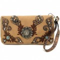 KW_018 Wholesale Western Wallet Features New Laser Cut Edges Embroidery Design Flower Concho Brown