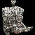 PEN_030 WHOLESALE WESTERN RHINESTONE TOOLED COWGIRL BOOTS MAGNETIC CLOSURE PENDANT