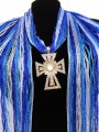 SJ026 Wholesale Gradiant Blue Expandable Lace Silver Clear Rhinestone Cross Jewelry Scarf