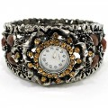 Watch_002_Brown Wholesale Brown Rhinestone Gemstone Bangle Style Watch