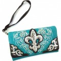 Wholesale Rhinestones Western Cowgirl Fleur De Lis Embroidery Turquoise Wallet With Strap Kw10
