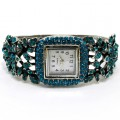 Watch_003_Turq Wholesale Turquoise Rhinestone Flower Bangle Style Watch