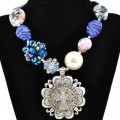 NKL_359 Wholesale Large Royal Blue Bead Zebra Rose Shell Bubble Necklace with Silver Clear Rhinestone Cross Pendant
