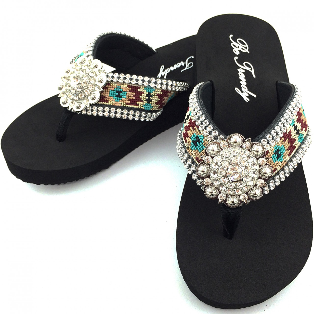 76e02a65a2c0 WFF000017 Wholesale Rhinestone Western Cowgirl Flip Flops with Concho  Embroidery. Image 1