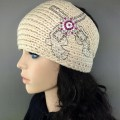KH_1_1 Wholesale Accessories Western Winter Rhinestone Double Pistol Concho Knit HeadBand Head Warp Ear Warmer Beige/Pink
