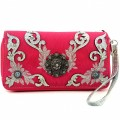 KW_018 Wholesale Western Wallet Features New Laser Cut Edges Embroidery Design Flower Concho Hot Pink