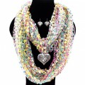SJ020 Wholesale Multicolor Turquoise Pink Yellow Theme Confetti Scarf Clear Gemstone Silver Winged Heart Pendant with Earrings