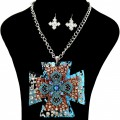 Western Rhinestone Large Leather Pendant Chain Necklace with Earrings -Turquoise