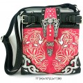 Wholesale Handbags Pink Western Rhinestone Buckle Embroidery Cross Body And Messenger Bag KW12 BK
