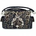 KH_018 Wholesale Trendy Western Cowgirl Purse Rhinestone Leopard Print Double Pistol Shoulder Handbag Black