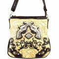 KH_015 Wholesale Trendy Western Cowgirl Purse Rhinestone Double Pistol Concealed Carry Tooled Cross Body Messenger Bag Brown