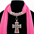 SJ025 Fuchsia Pink Scarf With Bead Filled Cross Shaped Pendant