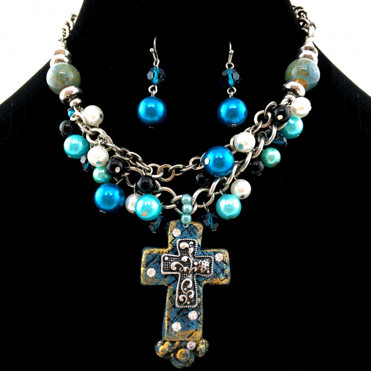 Turquoise western chunky rhinestone resin cross bubble for Wholesale cowgirl bling jewelry