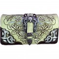 Wholesale Rhinestones Western Cowgirl Buckle Embroidery Beige Wallet With Strap Kw10