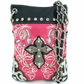 Wholesale Handbags Pink Western Rhinestone Cross  Embroidery Cross Body Messenger bag KW15BK