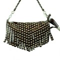 A11-5113_BROWN Wholesale Brown Rhinestone Fringe Fashion Handbag
