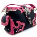 KW_15_BK Wholesale Western Rhinestone Buckle Studs Concealed Shoulder Classic Chain Strap Carved Design Handbag Black/Pink