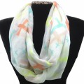 IS001 White Wholesale Multicolor Assorted Size Colors Cross Infinity Scarf