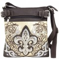 Wholesale Handbags Beige Western Rhinestone Fleur De Lis Embroidery Cross Body And Messenger Bag KW12 BK