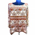 KB0009 Wholesale Apparel Kimono Blouse Beige with  Brown Indian  Design  Shirt