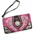 Wholesale Rhinestones Western Cowgirl Concho Embroidery Purple Wallet With Strap Kw10