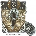 Wholesale Handbags Brown Western Rhinestone Buckle Embroidery Cross Body Messenger bag KW13BK