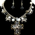 Western Horse Rider Cross Pearl Bubble Necklace with Earrings