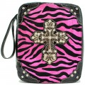 A5763_PINK Zebra Wholesale Vintage Silver Color Cross with Studded Rhinestones Bible Cover