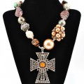 NKL_359 Wholesale Western Brown Rose Zebra Bubble Shell Beaded Necklace with Brown Rhinestone Cross Pendant