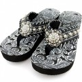 WFF0002 Wholesale Western Leather Strap Black Flip Flop with Rhinestone Berry Concho and white leather lace