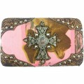 KWT_003 Wholesale Brown/Pink camo Wallet with Western Floral Design and Rhinestone Cross
