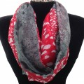 IS003 Wholesale Red Grey Leopard Design Voile Infinity Scarf
