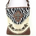 5783 BEIGE Wholesale Western Handbags Shiny Zebra Cross Rhinestone Flower Embroidery Rhinestone