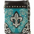 Wholesale Handbags Turquoise Western Rhinestone Fleur De Lis Embroidery Cross Body Messenger bag KW13F