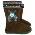KT_8209-4 Wholesale UGG Style Turquoise Cross Rhinestone Concho Cowgirl Double Pistol Brown Winter Boots
