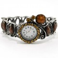 Watch_005_Brown Wholesale Brown Gemstone Rhinestone Fruit Bangle Style Watch