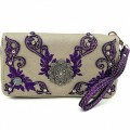KW_018 Wholesale Western Wallet Features New Laser Cut Edges Embroidery Design Flower Concho Purple