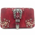 HR_151B wholesale western Buckle Design Red Carved Leather New Flat Woman Wallet