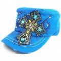 Wholesale Hat Blue Rhinestones Cross  Vintage Cadet Caps and Hats Kwcap_003