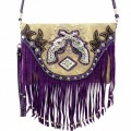 KH_020 Wholesale Trendy Western Cowgirl Messenger Bag Rhinestone Multi Feature Double Pistol Fringe Hipster Crossbody Handbag Purple