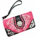 Wholesale Rhinestones Western Cowgirl Concho Embroidery Hot Pink Wallet With Strap Kw10