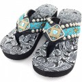 WFF0004 Wholesale Western Leather Strap Black Flip Flop with Orange and Blue Gemstone Rhinestone Concho and Embroidery