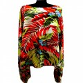 KB0003 Wholesale Apparel Kimono Blouse with Orange Tropical Hawaiian Flower Design