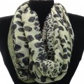 IS003 Wholesale Green Leopard Design Voile Infinity Scarf