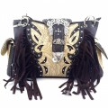 KH_022 Wholesale Trendy Western Cowgirl Purse Rhinestone Crown Buckle Fringe Conceal Carry Shoulder Handbag Brown
