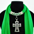 SJ025 Emerald Green Scarf With Bead Filled Cross Shaped Pendant
