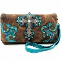 Wholesale Rhinestones Western Cowgirl Cross Embroidery Brown/Turquoise Wallet With Long Strap Cross Body Small Purse