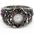 Watch_002_Purple Wholesale Purple Rhinestone Gemstone Bangle Style Watch