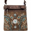 Western Brown Turquoise Trimmed Leather Rhinestone Concho Stud Messenger Handbag W/ Adjustable Strap